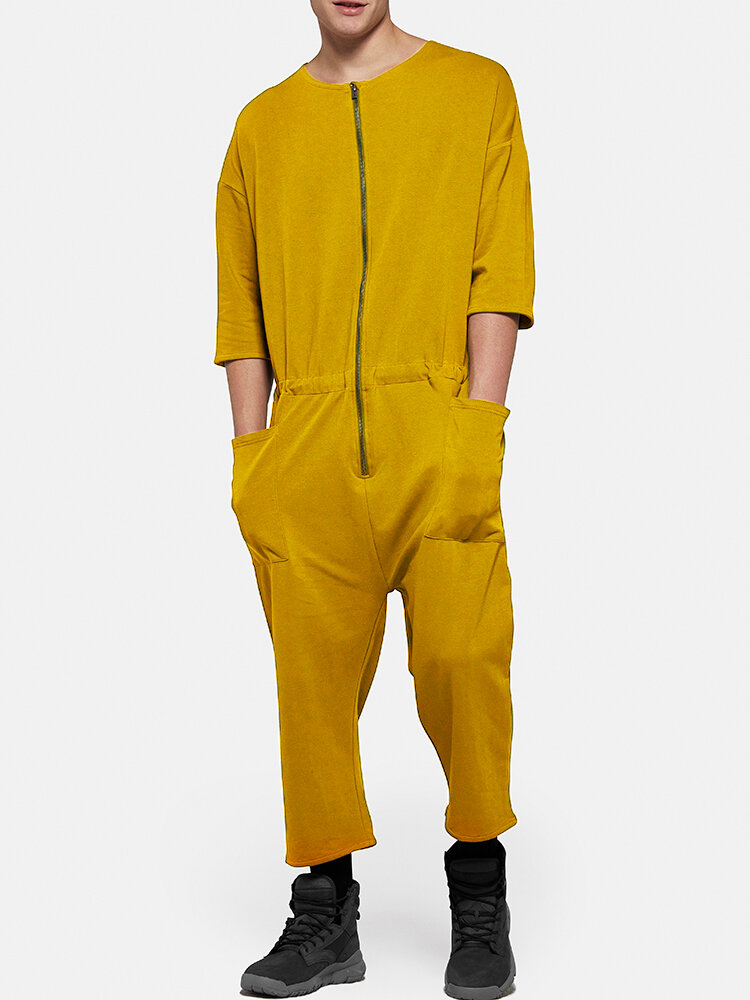 Men Cotton Cozy Loose Zipper Up Jumpsuits Daily Pure Color Lounge Comper Pants with Big Side Pockets