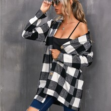 Button Front Gingham Coat
