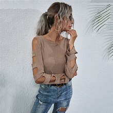Ladder Cut Out Round Neck Sweater