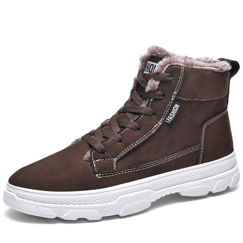 Men Outdoor Style Comfy Warm Plush Lining Lace Up Ankle Boots