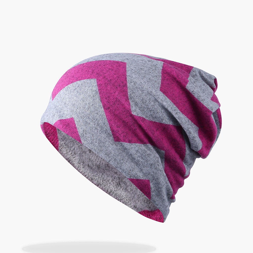 Women Cotton Warm Print Stripe Beanie Hat Outdoor Casual Windproof For Both Head And Neck Warmer Hat