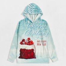 Hoodie mit Weihnachten Muster, Kaenguru Taschen und Kordelzug