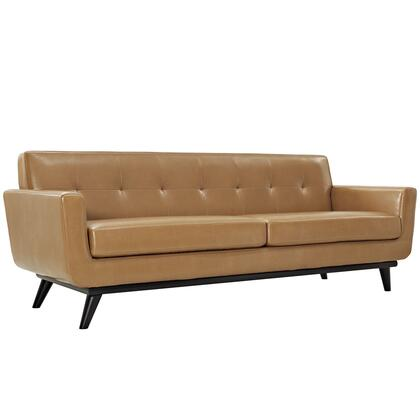 Engage Collection EEI-1338-TAN  90 Sofa with Flared Track Arms  Cherry Tapered Legs  Rubber Wood Construction and Bonded Leather Upholstery in Tan