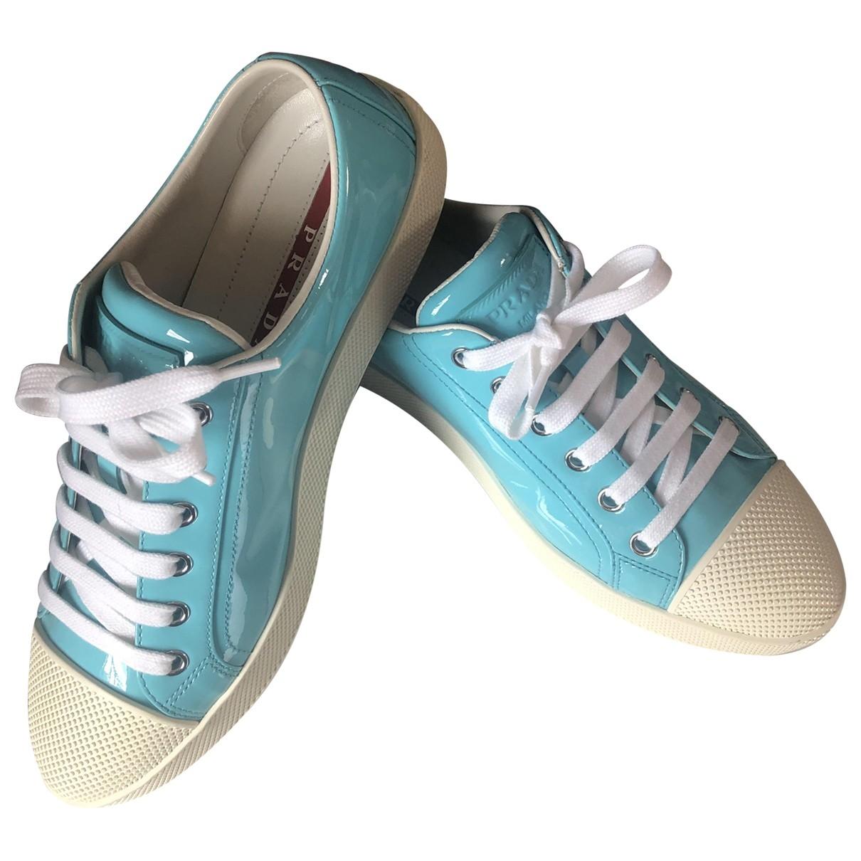 Prada \N Sneakers in  Tuerkis Leder