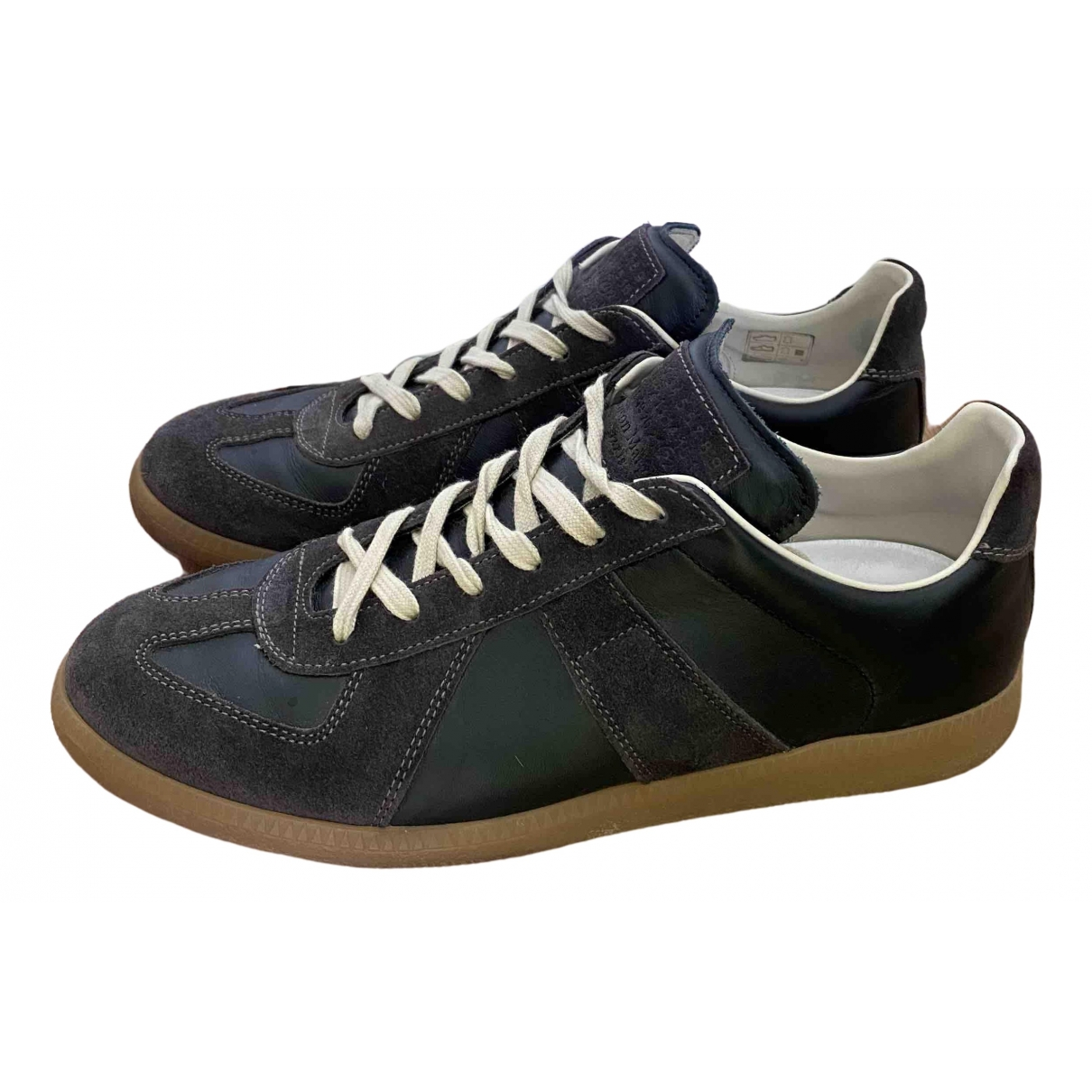 Maison Martin Margiela Replica Anthracite Leather Trainers for Men 41 EU