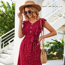 Kleid mit Konfetti Muster, Raffung und Guertel