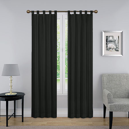 Pairs To Go Montana Light-Filtering Tab-Top Set of 2 Curtain Panel, One Size , Black
