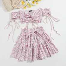 Ditsy Floral Print Drawstring Front Shirred Back Top and Skirt Set