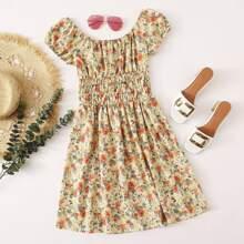 Off Shoulder Shirred Waist Floral Dress