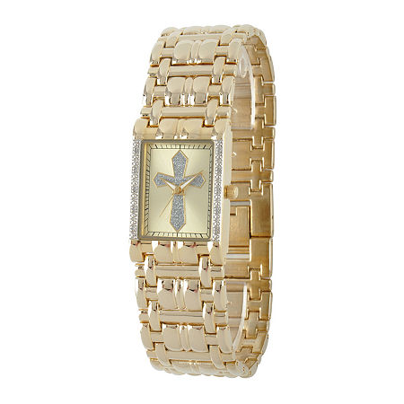 Personalized Mens Diamond-Accent Rectangular Gold-Tone Cross Watch, One Size , No Color Family