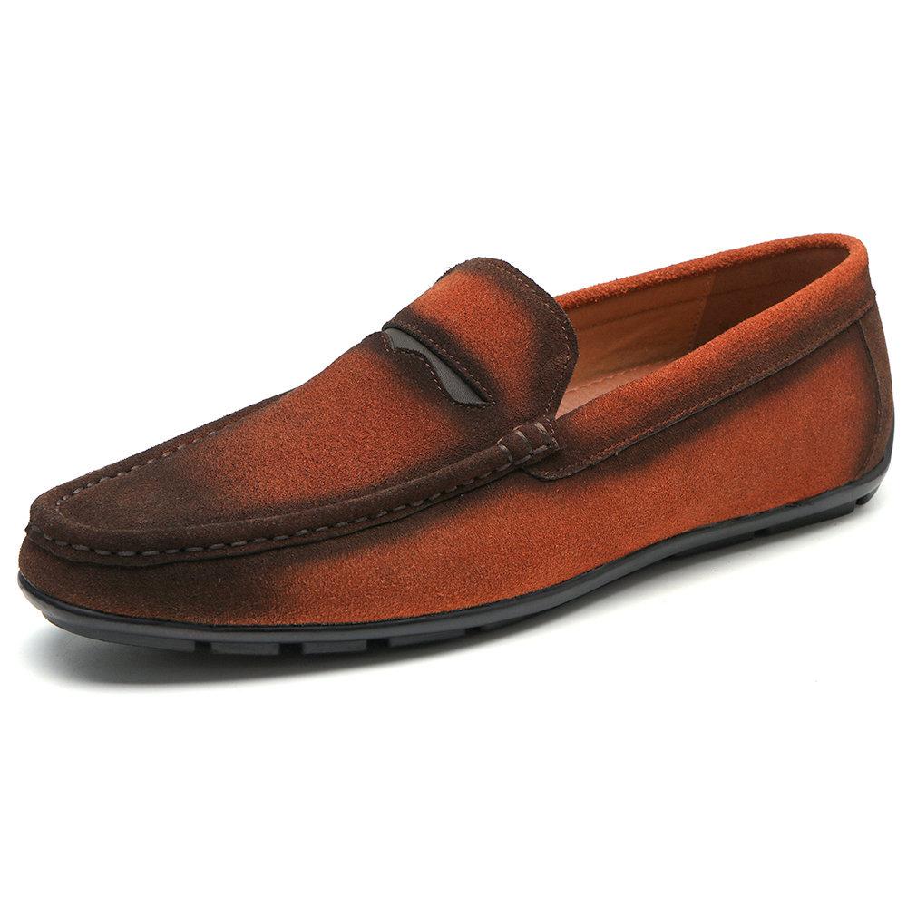 Menico Men Vintage Comfy Suede Loafers Slip On Gradient Color Casual Shoes