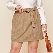 Plus Buckle Belted Cord Skirt