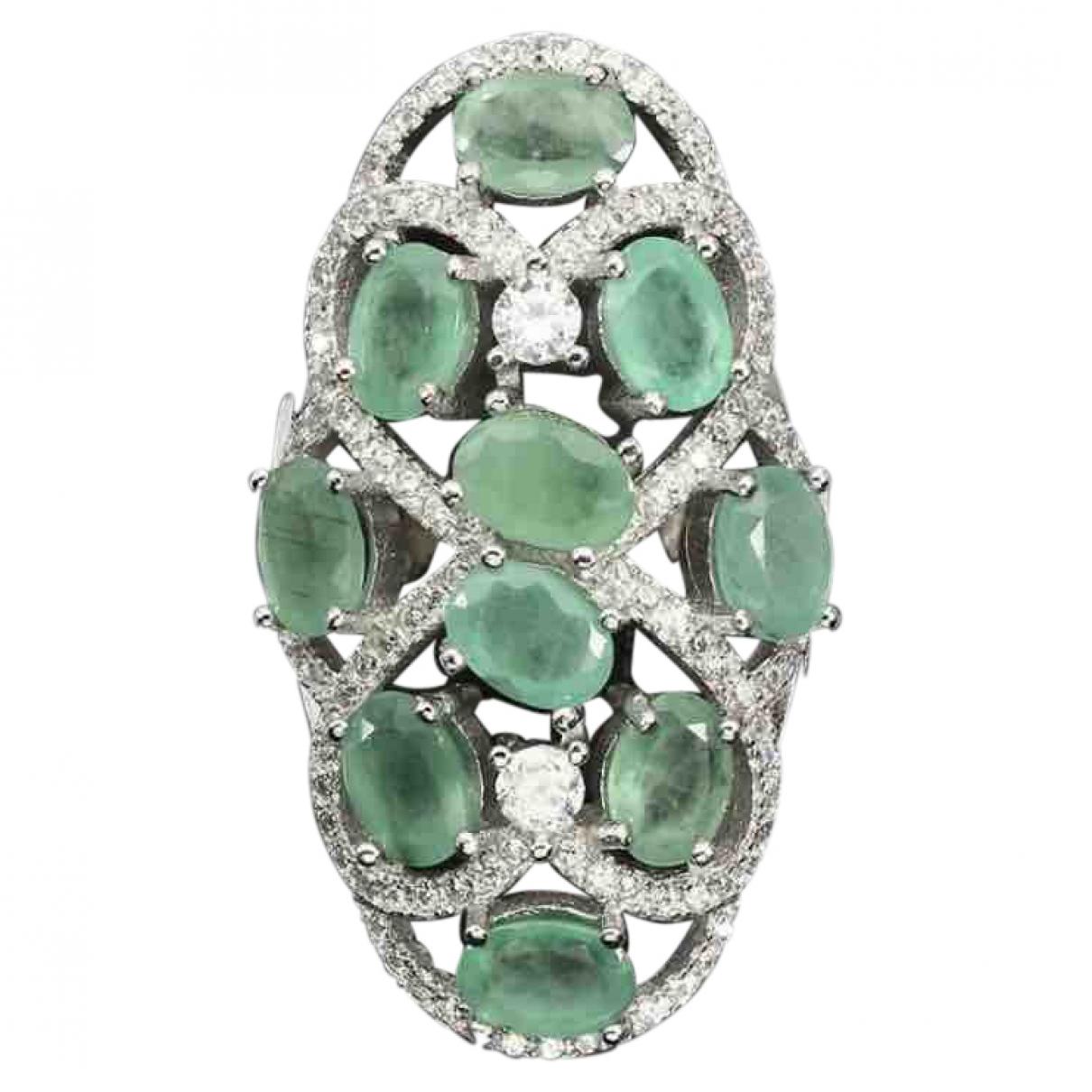 - Bague Art Deco pour femme en argent - vert
