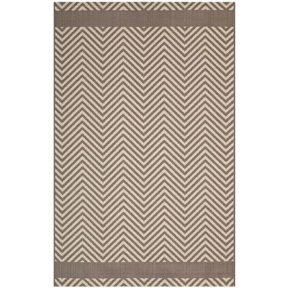 Optica Collection R-1141A-810 Chevron With End Borders 8x10 Indoor and Outdoor Area Rug in Light and Dark Beige