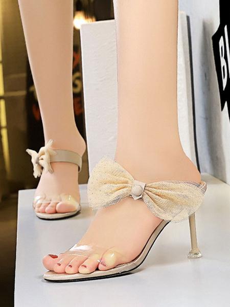 Milanoo Women\'s Sandals Stiletto Heel Bows Elegant Sandals Slip-On Round Toe Women\'s Sandals