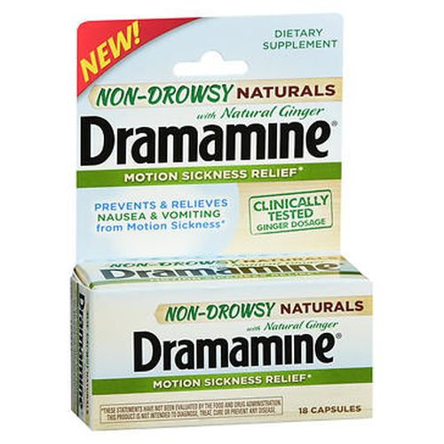 Dramamine NonDrowsy Naturals With Ginger Motion Sickness Relief Capsules 18 Tabs by Med Tech Products