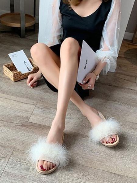 Milanoo Women Flat Slides Yellow Open Toe Feather Detail Sandal Slippers