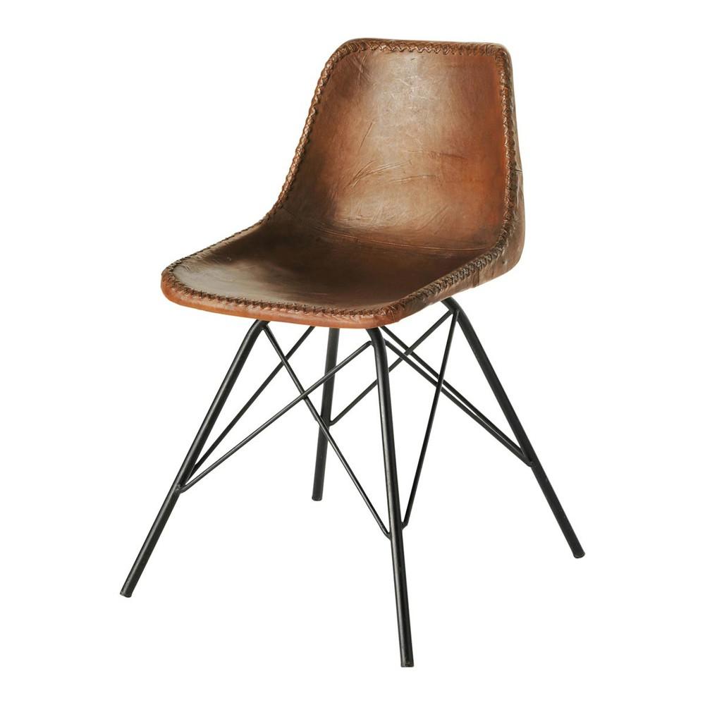 Stuhl im Industrial-Stil aus Leder, braun Austerlitz