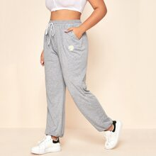 Plus Daisy Floral Embroidery Drawstring Waist Sweatpants