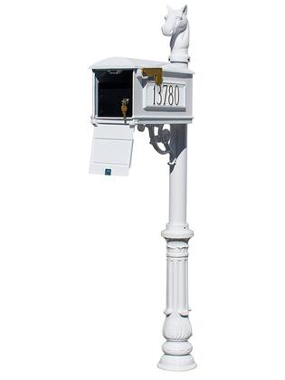 LMC-LKIT-701-WHT Lewiston Equine Mailbox Post System with Locking Insert  ornate base  horsehead finial and 3 cast aluminum personalized address