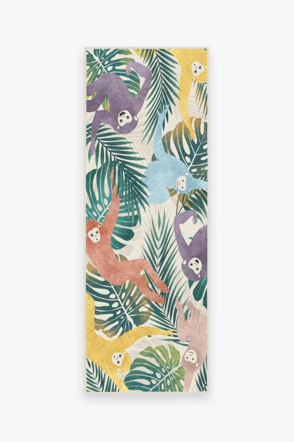 Washable Rug Cover & Pad   Monkey Mania Multicolor Rug   Stain-Resistant   Ruggable   2.5'x7'