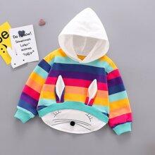 Kleinkind Maedchen Hoodie mit 3D Ohr Design und Regenbogen Streifen