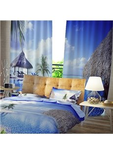 3D Tropical Seaside Beach Blue Sky White Cloud Printed Curtain