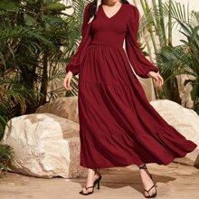 Shirred Flounce Hem Dress