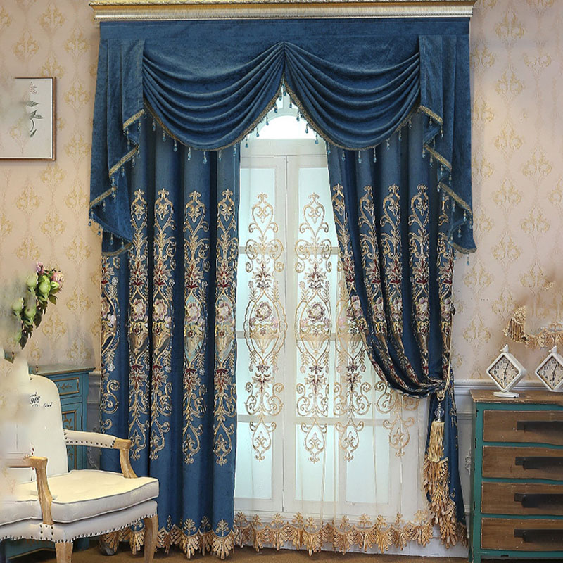 Luxury European Floral Embroidery Decoration Sheer Curtains for Living Room Custom 2 Panels Breathable Drapes No Pilling No Fading No off-lining
