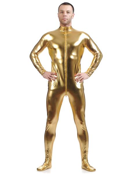 Milanoo Disfraz Halloween Amarillo Cosplay metalico brillante Zentai traje para los hombres Halloween