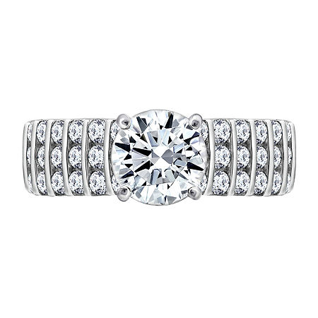Womens 2 1/3 CT. T.W. Cubic Zirconia Sterling Silver Round Engagement Ring, 8 , No Color Family