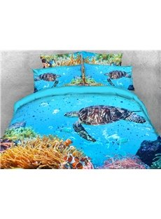 Coral and Sea Turtle 3D Animal Comforter Soft Lightweight Warm 5-Piece Comforter Sets