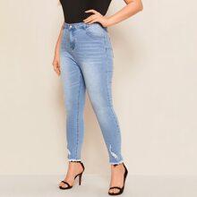 Plus Ripped Detail Raw Hem Skinny Jeans
