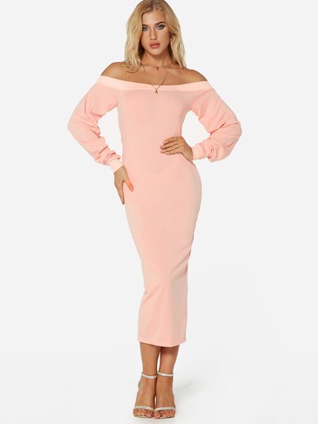 Yoins Pink Off The Shoulder Long Sleeves Maxi Dress