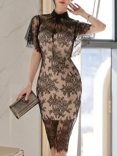 Milanoo Vestidos Negro de encaje de manga larga cuello alzado altas-bajas de vestidos de diseño de encaje clasico