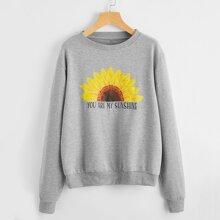 Pullover mit Sonnenblumen & Buchstaben Grafik