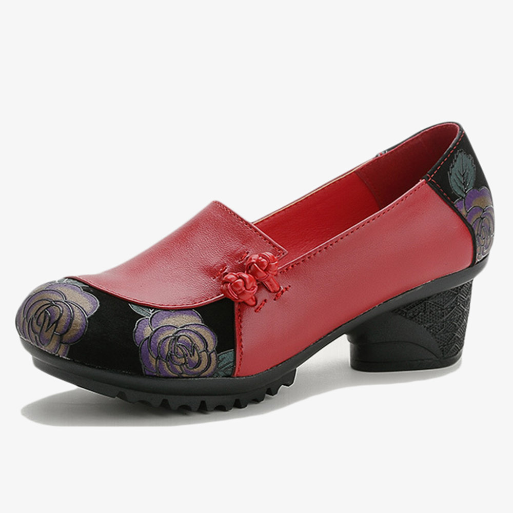Women Soft Leather Mother Shoes Splicing Slip On Chunky Heel Pumps