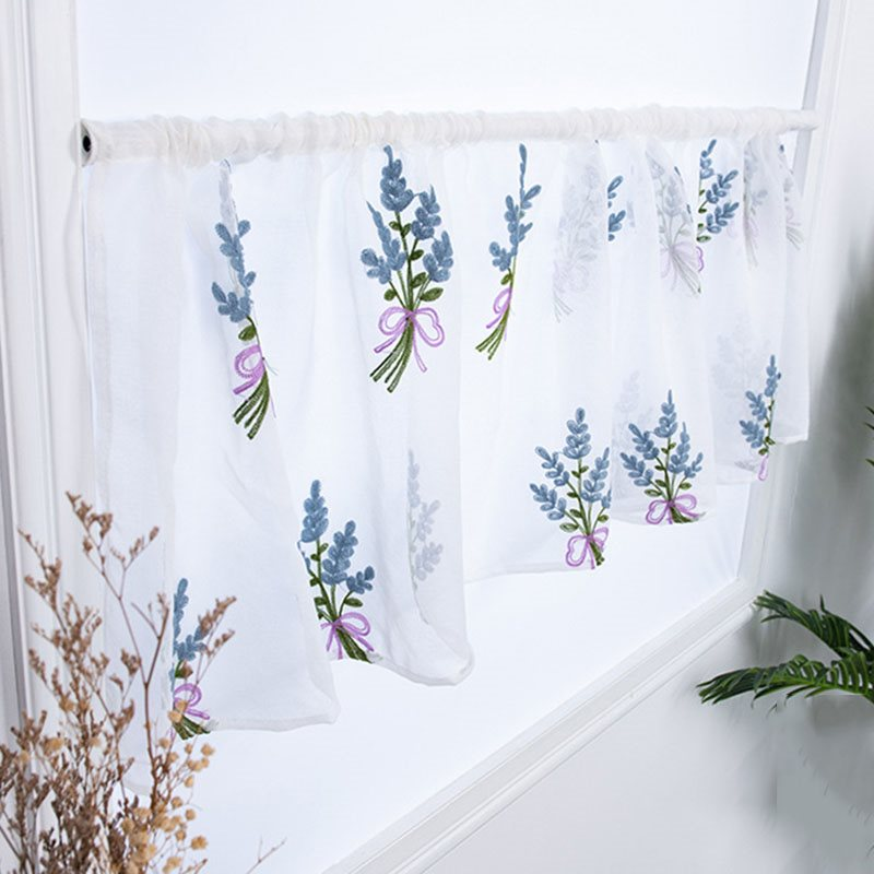 Short Sheer Shades Decorative Embroidery Sheer Voile Curtain Valance for Cabinet Kitchen Window