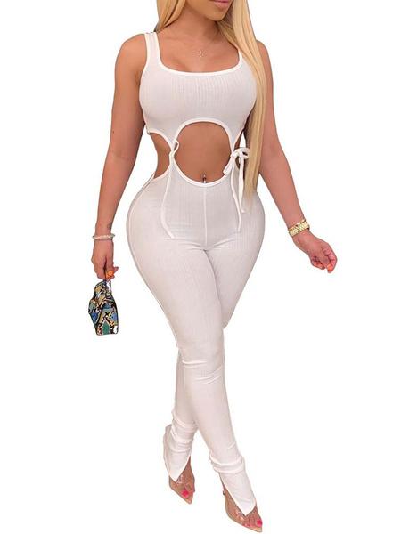 Milanoo Mono sexy blanco Mujeres Cuello joya Sin mangas Recortado Traje de una pieza flaco
