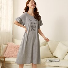 Slogan Graphic Flounce Sleeve Night Dress