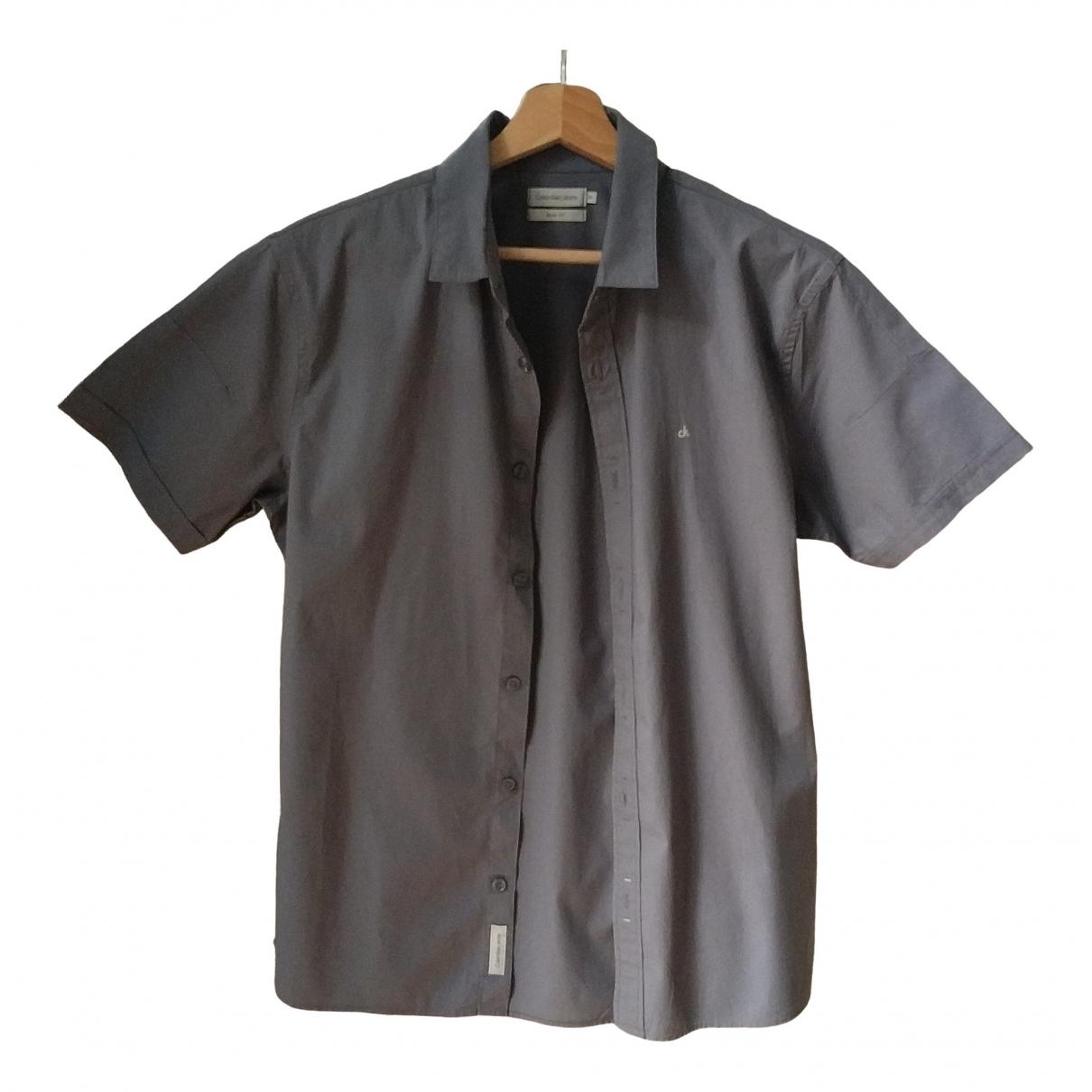 Calvin Klein - Chemises   pour homme en coton - gris