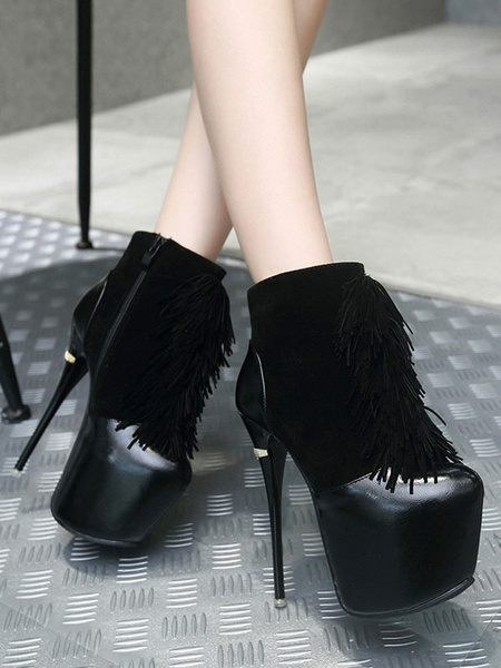 Milanoo Black Sexy Boots Women Platform Stiletto Heel Ankle Boots With Tassels