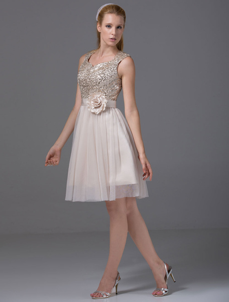Milanoo Short Homecoming Dress Sweatheart Sequined Tulle Pleated A-Line Knee-Length Cocktail Dress With Sash Bow