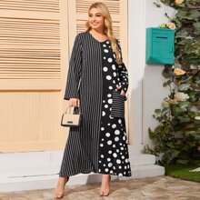 Plus Polka Dot And Striped Print Dress