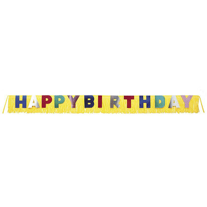 Giant Happy Birthday Foil Fringe Yellow Banner, 9.5ft