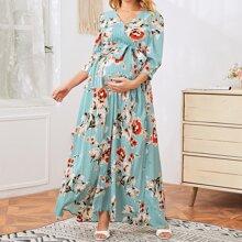 Maternidad vestido floral fruncido con cinturon de cuello cruzado