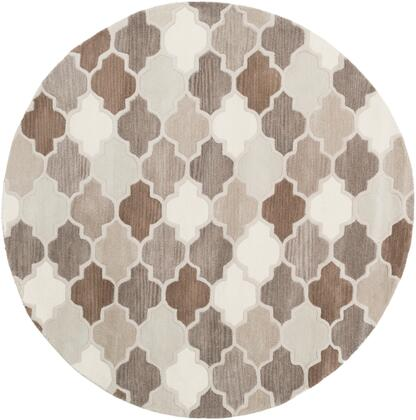 Oasis OAS-1088 6 Round Cottage Rug in Medium Gray  Light Gray  Taupe  Dark Brown  Khaki