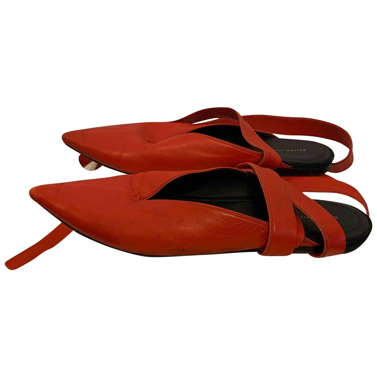 Celine \N Red Leather Ballet flats for Women 40.5 EU