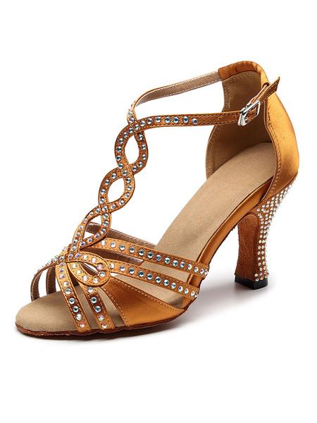 Milanoo Zapatos de baile latino personalizados para mujer Zapatos de baile de salon de diamantes de imitacion de saten de lujo