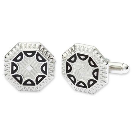 Art Deco Enamel Cuff Links, One Size , White